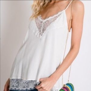 Tops - NEW‼️BOHO WHITE LACE EYE LASHES STYLE top - Cami